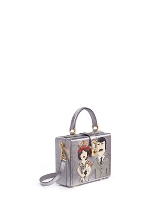 Figure View - Click To Enlarge - Dolce & Gabbana - 'Dolce Box' DG Family appliqué metallic leather bag