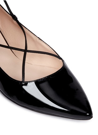 Detail View - Click To Enlarge - Kate Spade - 'Genie' patent leather lace-up flats