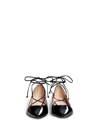 Front View - Click To Enlarge - Kate Spade - 'Genie' patent leather lace-up flats