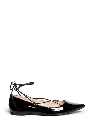 Main View - Click To Enlarge - Kate Spade - 'Genie' patent leather lace-up flats