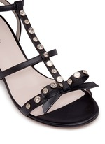 'Miles' jewelled bow strappy leather sandals
