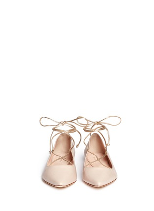 Front View - Click To Enlarge - Kate Spade - 'Genie' metallic lace-up leather flats