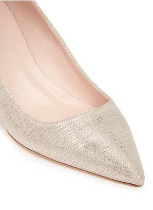 Detail View - Click To Enlarge - Kate Spade - 'Milan' metallic lizard embossed suede pumps