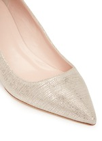 'Milan' metallic lizard embossed suede pumps