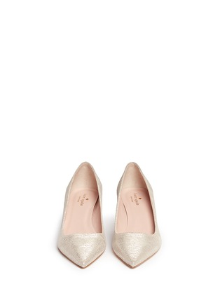 Front View - Click To Enlarge - Kate Spade - 'Milan' metallic lizard embossed suede pumps