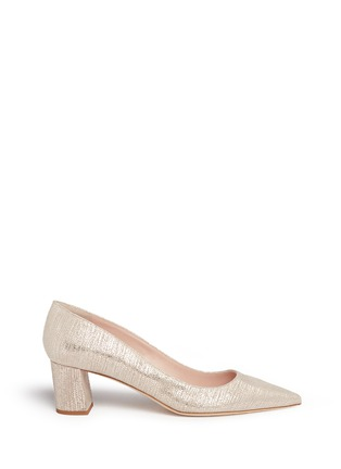 Main View - Click To Enlarge - Kate Spade - 'Milan' metallic lizard embossed suede pumps