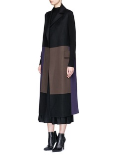 Victor Alfaro Colourblock virgin wool sleeveless long coat