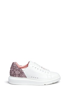Pedder Red 'Lory' metallic glitter heel leather sneakers