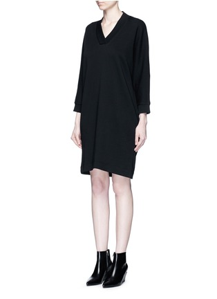 Front View - Click To Enlarge - KENZO - Logo print sweatshirt dress