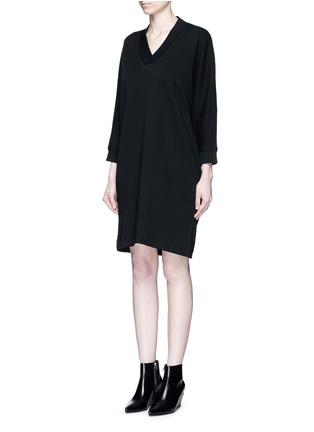 Front View - Click To Enlarge - KENZO - Logo print sweatshirt dress