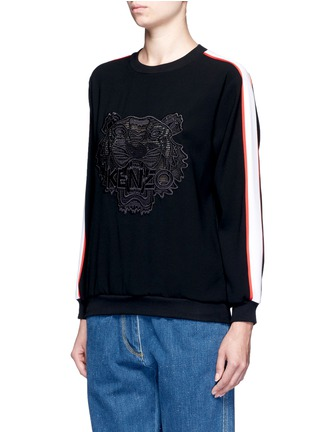 Front View - Click To Enlarge - KENZO - Tiger embroidered stripe sweatshirt