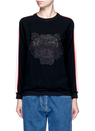 Main View - Click To Enlarge - KENZO - Tiger embroidered stripe sweatshirt