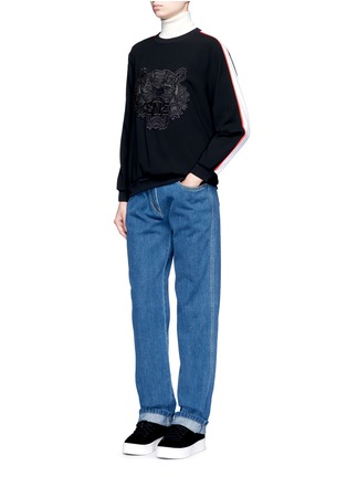 Figure View - Click To Enlarge - KENZO - Tiger embroidered stripe sweatshirt