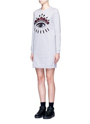 Front View - Click To Enlarge - KENZO - Eye embroidered cotton sweatshirt dress
