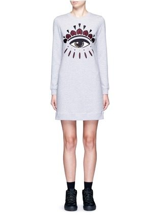 Main View - Click To Enlarge - KENZO - Eye embroidered cotton sweatshirt dress
