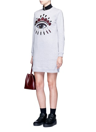 Figure View - Click To Enlarge - KENZO - Eye embroidered cotton sweatshirt dress