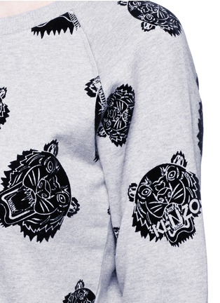 Detail View - Click To Enlarge - KENZO - 'Multi Tiger' flocked velvet sweatshirt dress