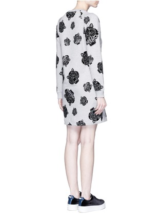 Back View - Click To Enlarge - KENZO - 'Multi Tiger' flocked velvet sweatshirt dress