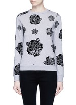 'Multi Tiger' flocked velvet sweatshirt