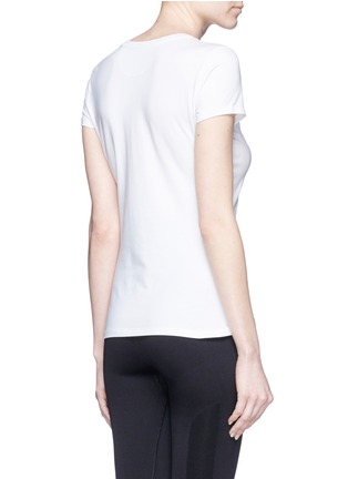 Back View - Click To Enlarge - Calvin Klein Collection - Variegated stripe logo print T-shirt