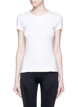 Main View - Click To Enlarge - Calvin Klein Collection - Variegated stripe logo print T-shirt