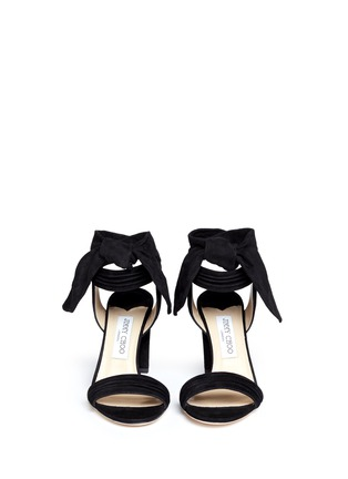 Front View - Click To Enlarge - Jimmy Choo - 'Kora' ankle tie pleat suede pumps