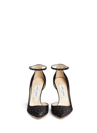 Front View - Click To Enlarge - Jimmy Choo - 'Lucy' ankle strap strass suede d'Orsay pumps