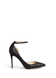 Jimmy Choo 'Lucy' ankle strap strass suede d'Orsay pumps