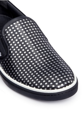 Detail View - Click To Enlarge - Jimmy Choo - 'Grove' metallic houndstooth leather skate slip-ons