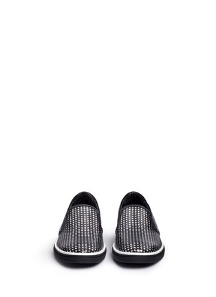 Front View - Click To Enlarge - Jimmy Choo - 'Grove' metallic houndstooth leather skate slip-ons