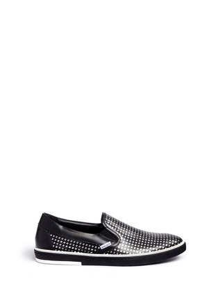Main View - Click To Enlarge - Jimmy Choo - 'Grove' metallic houndstooth leather skate slip-ons