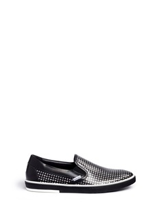 Jimmy Choo 'Grove' metallic houndstooth leather skate slip-ons