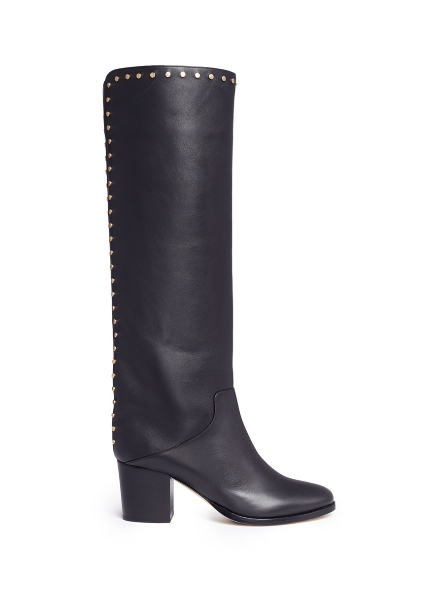 Monroe 65 stud leather knee high boots by Jimmy Choo