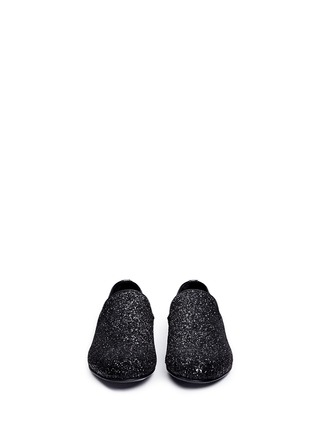 Front View - Click To Enlarge - Jimmy Choo - 'Sloane' coarse glitter slip-ons