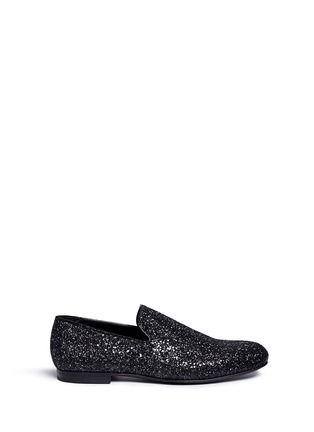 Main View - Click To Enlarge - Jimmy Choo - 'Sloane' coarse glitter slip-ons