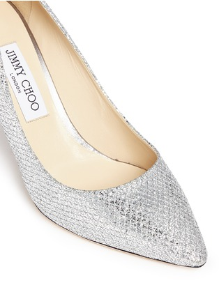 Detail View - Click To Enlarge - Jimmy Choo - 'Romy' stingray embossed heel glitter pumps