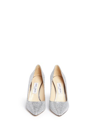 Front View - Click To Enlarge - Jimmy Choo - 'Romy' stingray embossed heel glitter pumps