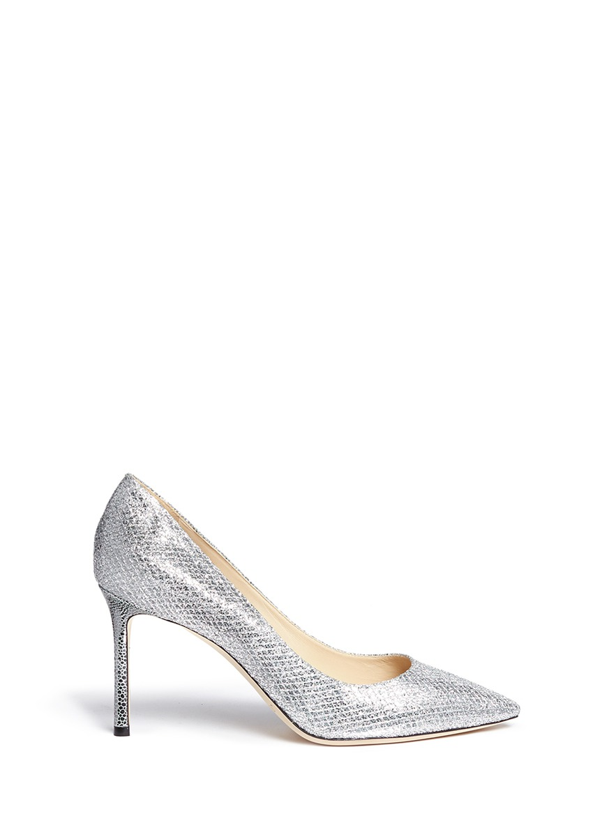 Romy stingray embossed heel glitter pumps by Jimmy Choo