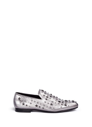 Main View - Click To Enlarge - Jimmy Choo - 'Sloane' star stud metallic leather slip-ons