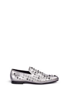 Jimmy Choo'Sloane' star stud metallic leather slip-ons