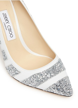 Detail View - Click To Enlarge - Jimmy Choo - 'Romy' coarse glitter stripe leather pumps