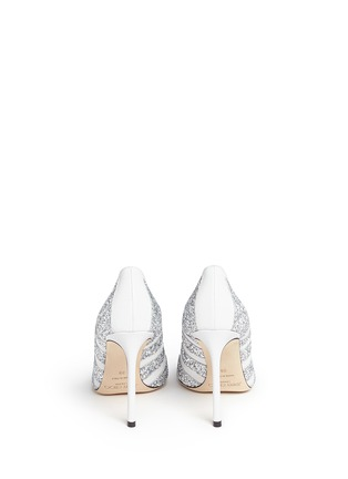 Back View - Click To Enlarge - Jimmy Choo - 'Romy' coarse glitter stripe leather pumps