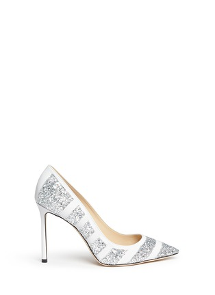 Main View - Click To Enlarge - Jimmy Choo - 'Romy' coarse glitter stripe leather pumps