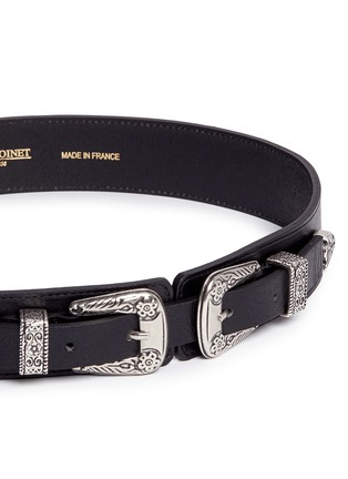 Detail View - Click To Enlarge - Maison Boinet - Floral engraved double buckle leather belt