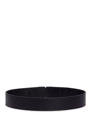 Back View - Click To Enlarge - Maison Boinet - Floral engraved double buckle leather belt