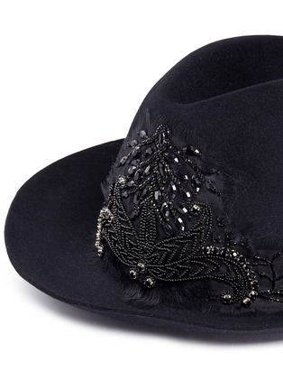 My Bob - 'Tribeca' floral embellished rabbit furfelt hat