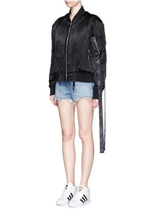 Front View - Click To Enlarge - NICOPANDA - Satin ribbon trim lingerie bomber jacket