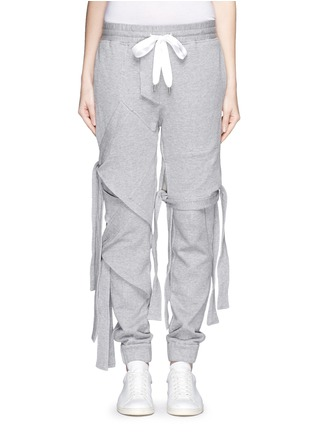 Detail View - Click To Enlarge - NICOPANDA - Satin ribbon tie deconstructed sweatpants