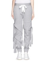 Satin ribbon tie deconstructed sweatpants
