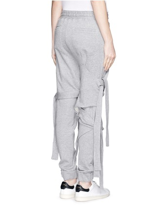 Back View - Click To Enlarge - NICOPANDA - Satin ribbon tie deconstructed sweatpants